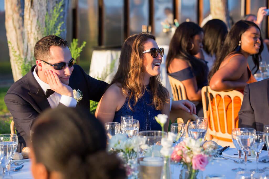 guests enjoy outdoors reception pine cliffs resort portugal oxfordshire destination wedding photography