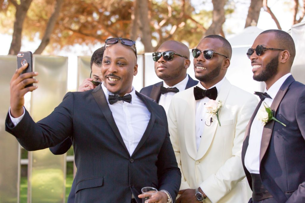 groom bestman groomsmen selfie pine cliffs resort portugal oxford wedding photographers