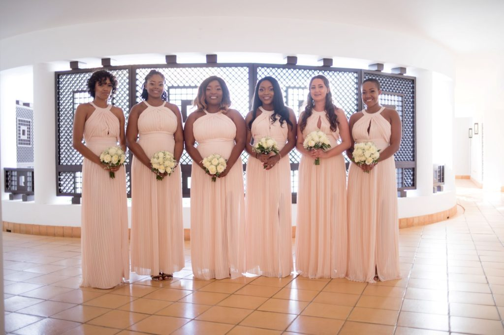 bridesmaids in pink dresses pine cliffs resort portugal oxfordshire wedding photography