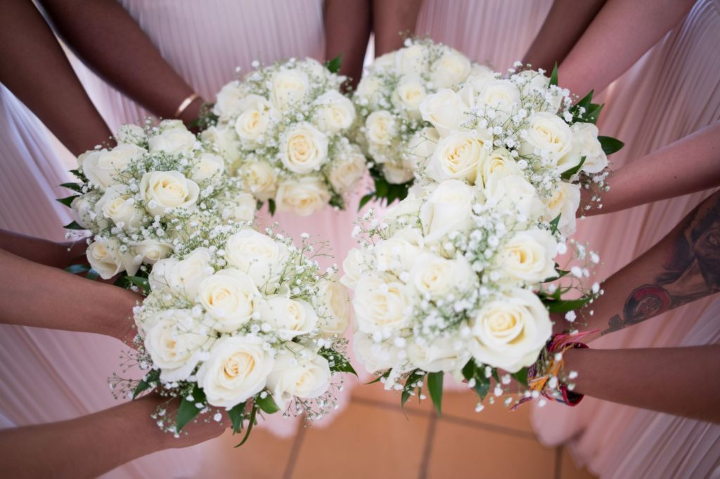 bridesmaids white floral bouquets pine cliffs resort oxford wedding photographer