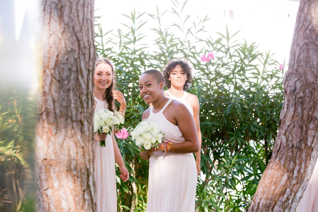 bridesmaids await bride pine cliffs luxury venue portugal oxfordshire wedding photographer