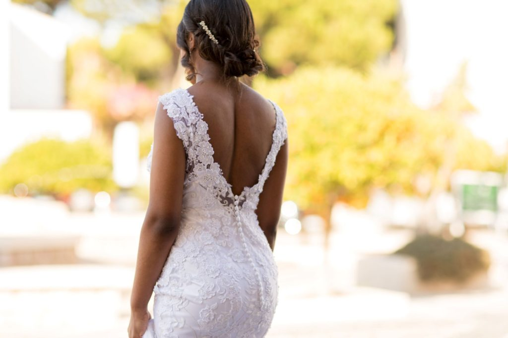 brides low back white dress pine cliffs luxury venue portugal oxfordshire wedding photographers