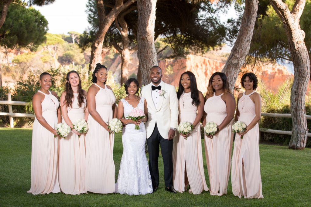 bride groom bridesmaids portrait pine cliffs resort portugal oxford wedding photography