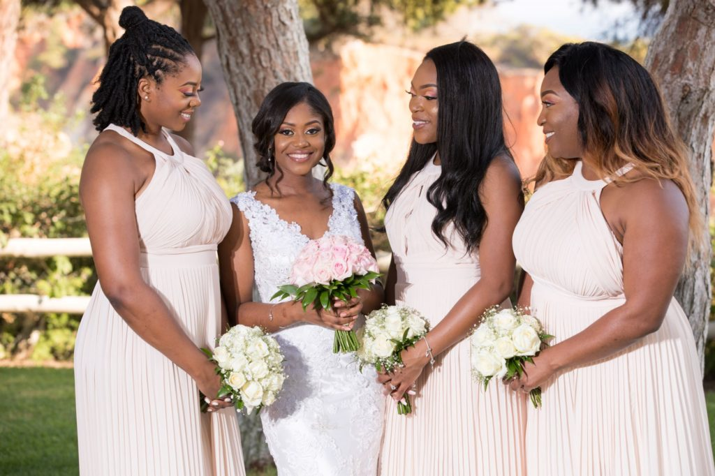 smiling bride with bridesmaids pine cliff resort portugal oxfordshire wedding photographer