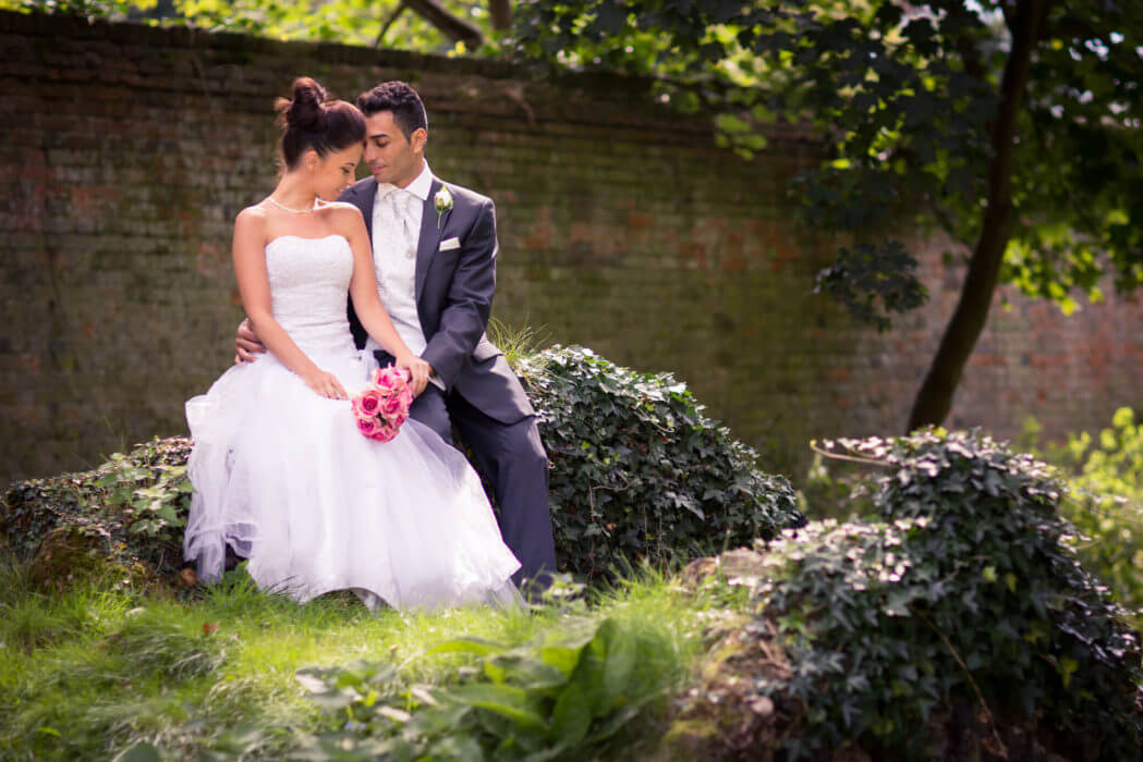 bride groom garden embrace s r urwin destination wedding photographer