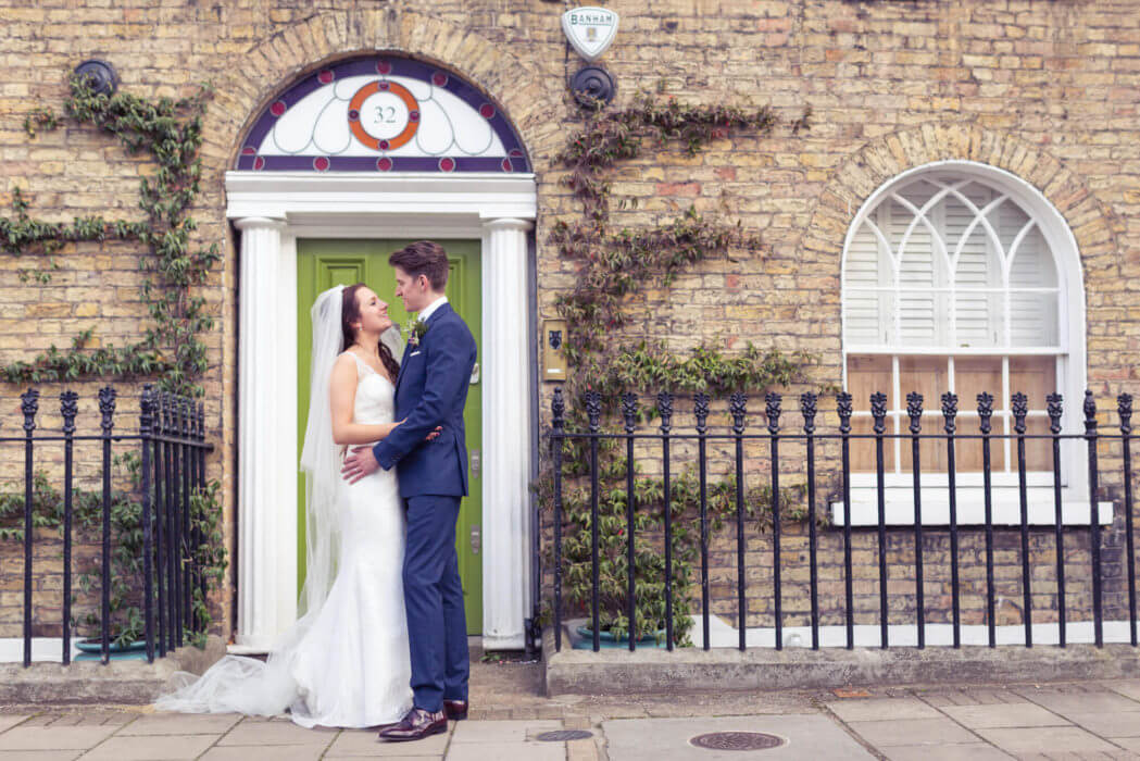 bride groom street embrace s r urwin wedding photographer
