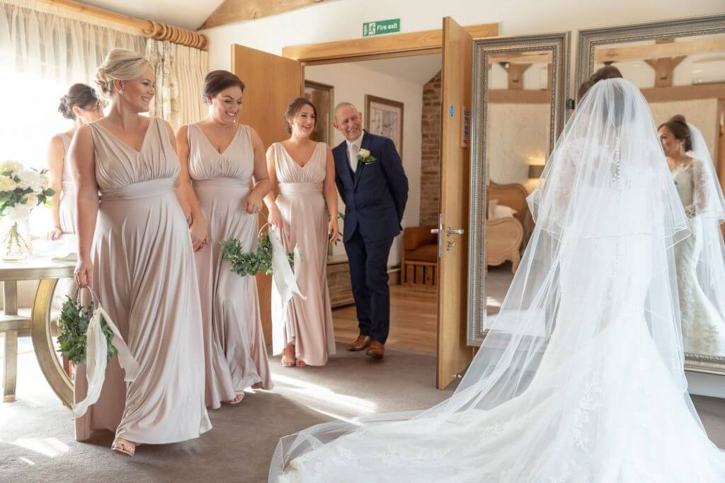 03 bride preparation dress bridesmaids father mythe barn luxury venue leicestershire oxford wedding photography