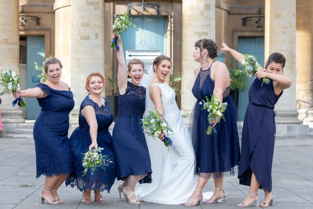 06 bride bridesmaids with flower bouquets st marys church bryanston square marylebone london oxford wedding photographer