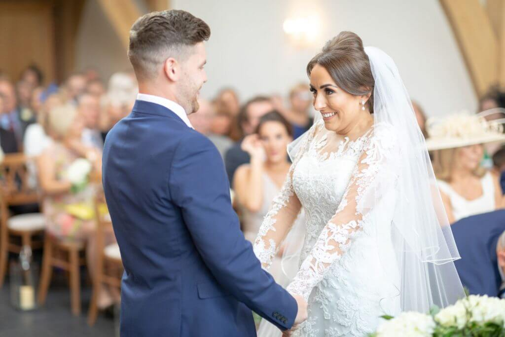 07 bride groom marriage ceremony mythe barn luxury venue leicestershire oxfordshire wedding photography