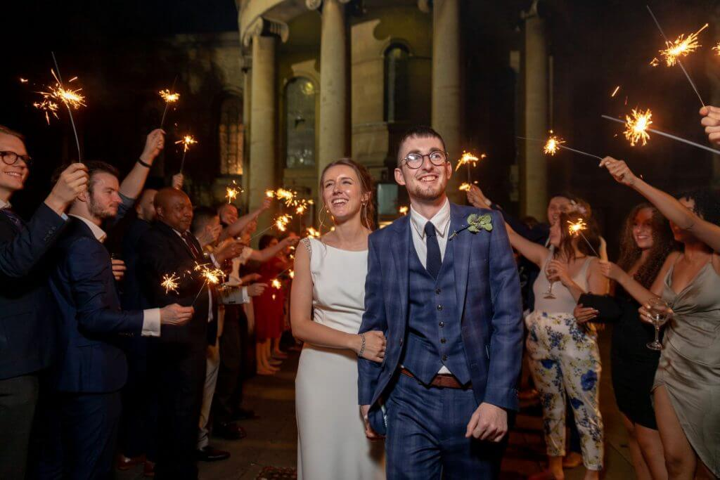 12 bride groom sparklers celebration party st marys church bryanston square marylebone london oxfordshire wedding photography