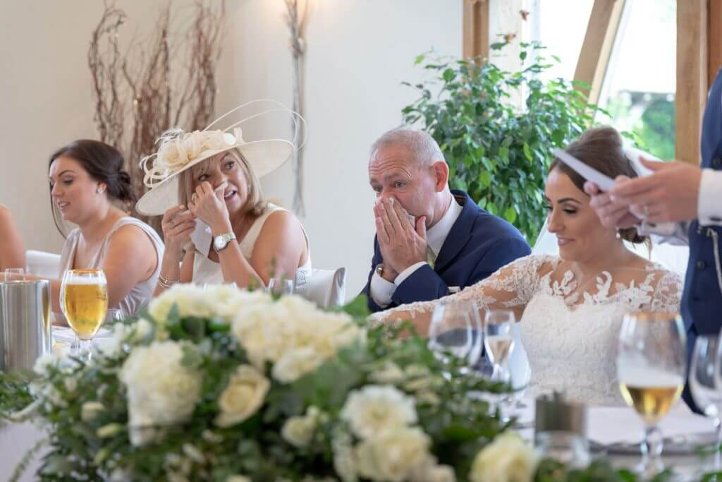 13 tearful mother and father of the bride dinner reception mythe barn luxury venue leicestershire oxfordshire wedding photography