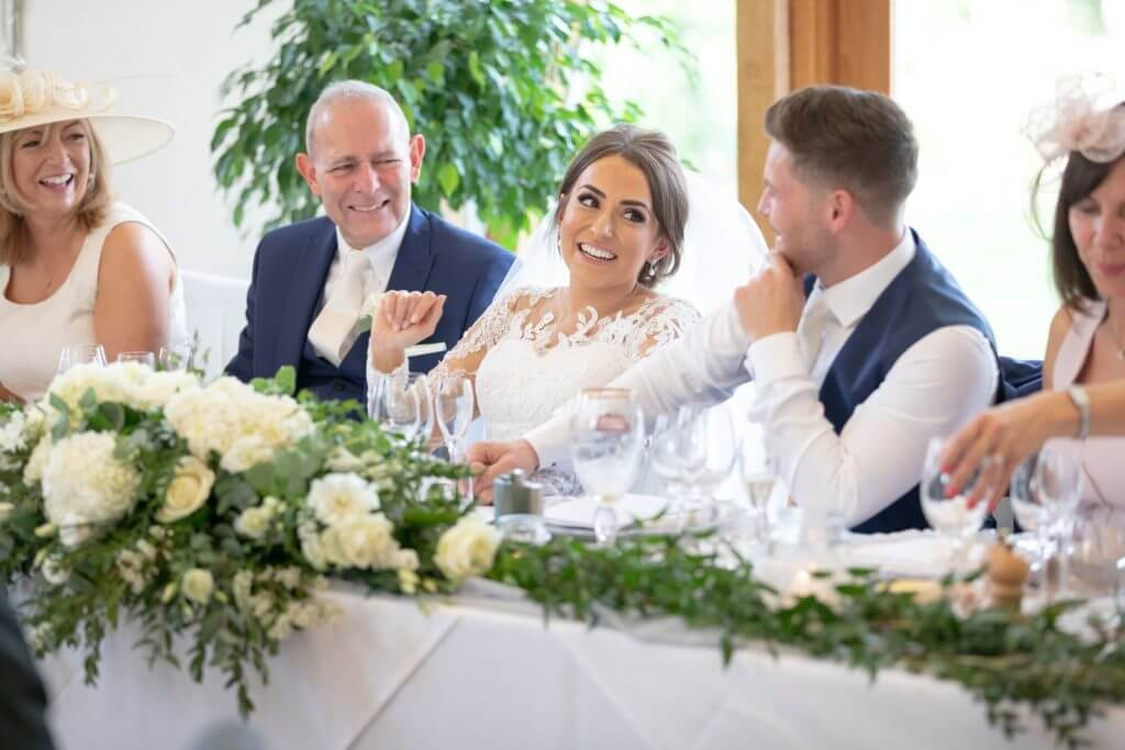14 bride groom guests floral table decorations dinner reception mythe barn luxury venue leicestershire oxford wedding photographer