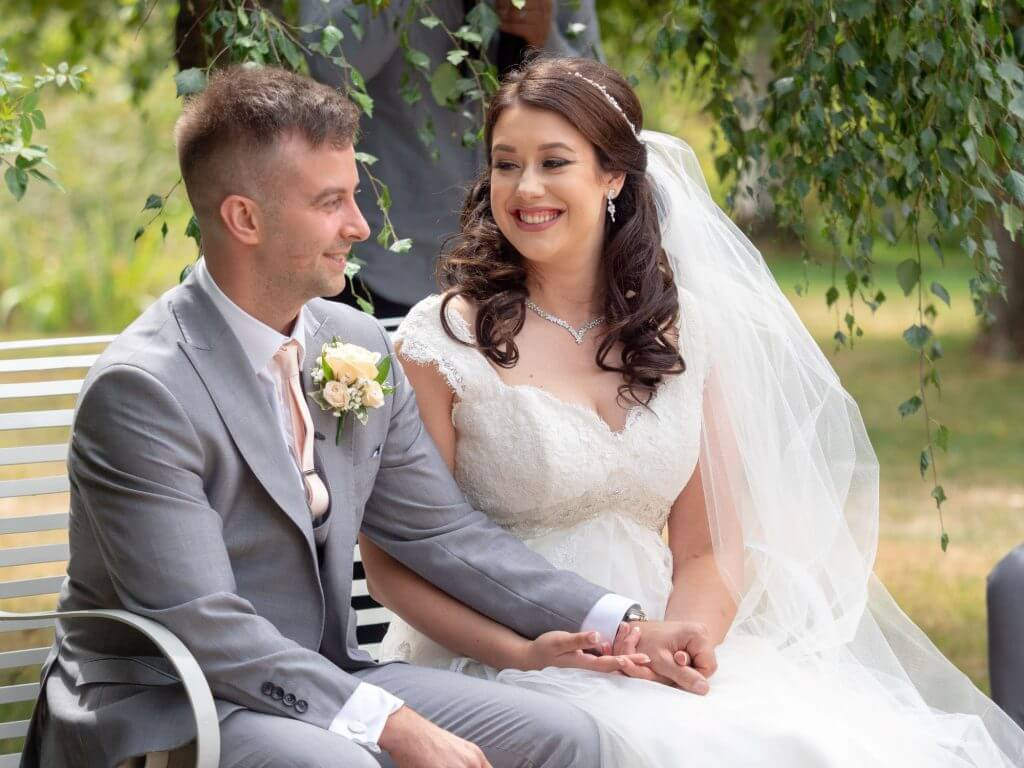 18 bride groom summer garden marriage ceremony venue oxfordshire wedding photography