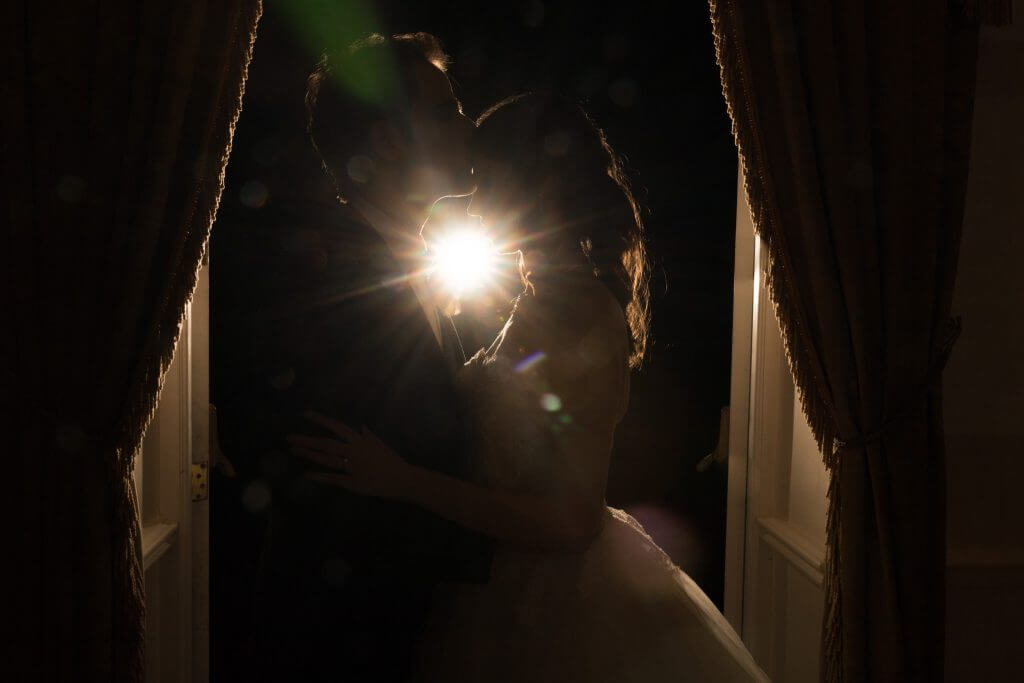 19 bride groom evening silhouette portrait four seasons hotel hampshire oxfordshire wedding photography