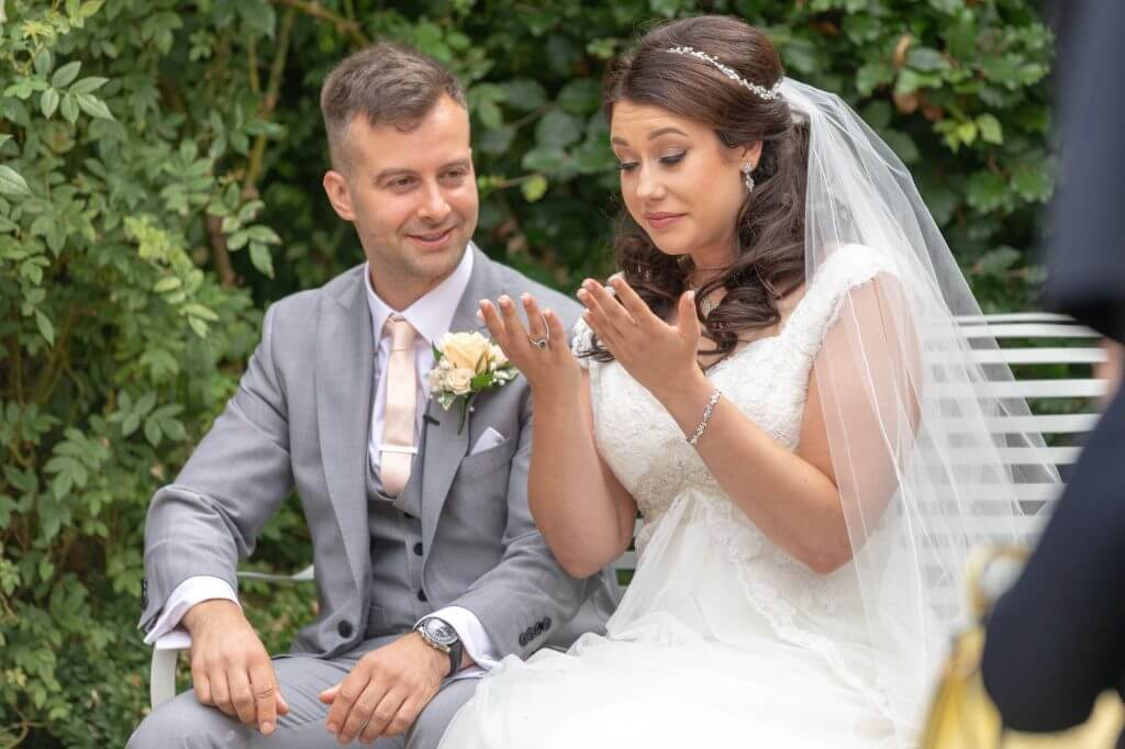 21 tearful bride summer garden marriage ceremony oxford wedding photography