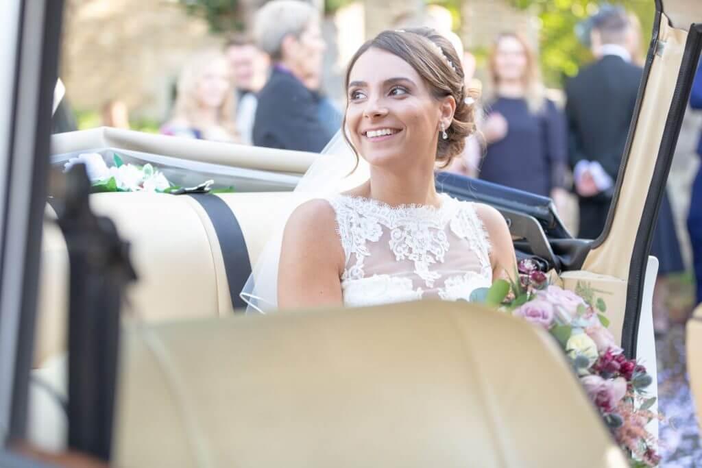 23a bride in bridal car iffley church oxford oxfordshire wedding photography