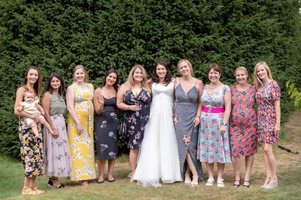 41 bride brides friends oxford summer garden venue oxfordshire wedding photography