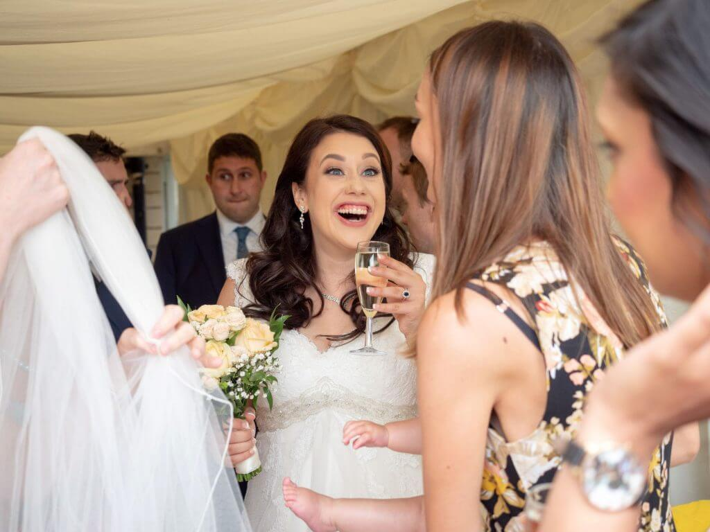 43 bride invited guests champagne reception cherwell boathouse venue oxford wedding photography