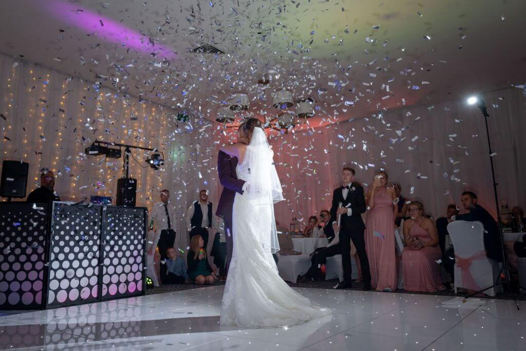 46 bride and groom first dance glitter disco milton hill house steventon abingdon oxford oxfordshire wedding photography