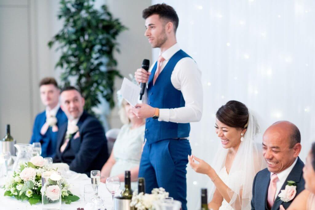 after dinner top table guests speeches with microphone milton hill house venue steventon abingdon oxford oxfordshire wedding photographer 31