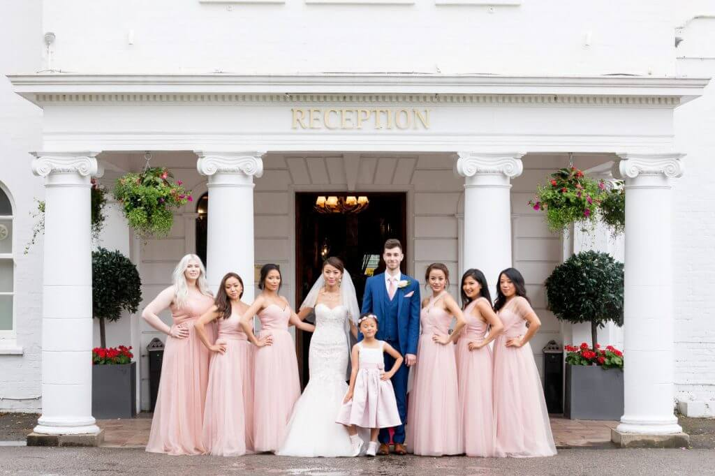 bride groom bridesmaids traditional family portrait milton hill house venue steventon abingdon oxford oxfordshire wedding photography 17