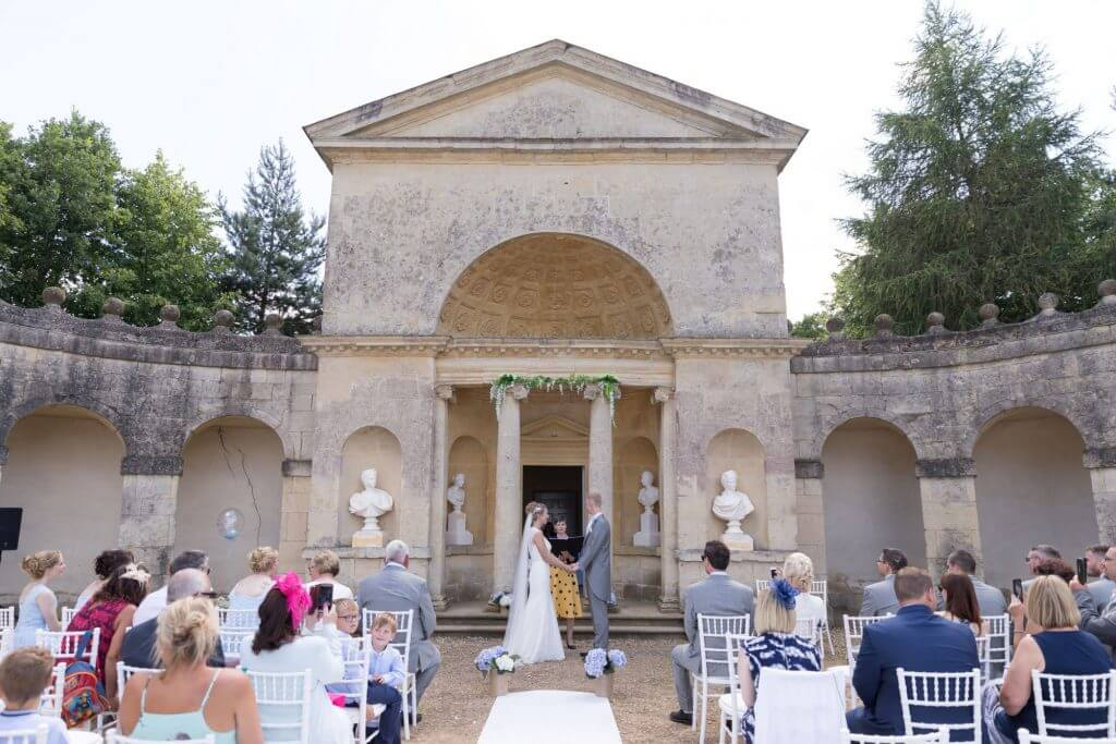 bride groom celebrant open air ceremony stowe house and gardens venue buckinghamshire oxford wedding photographer 44