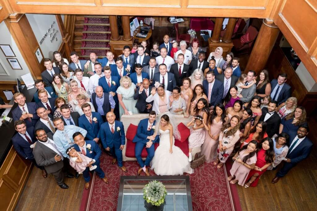 bride groom invited guests traditional family group photograph champagne reception milton hill house venue steventon abingdon oxford oxfordshire wedding photography 20