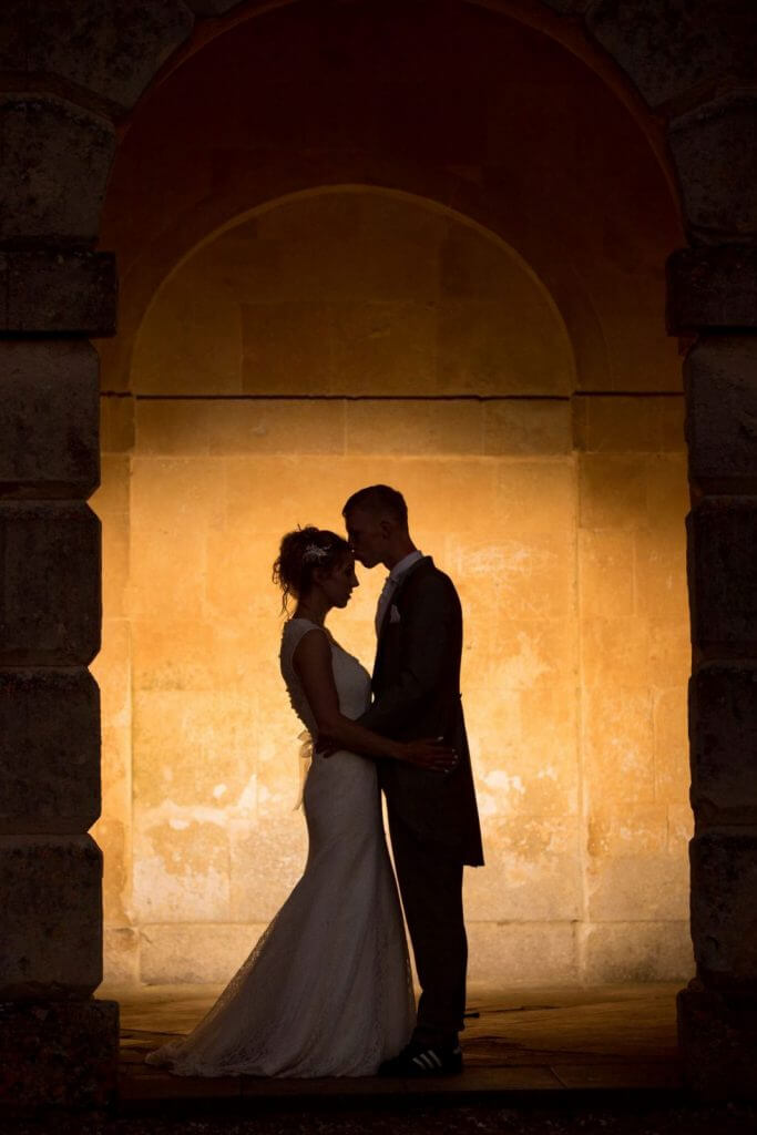 bride groom sunset reception silhouette stowe house buckinghamshire wedding photography 37