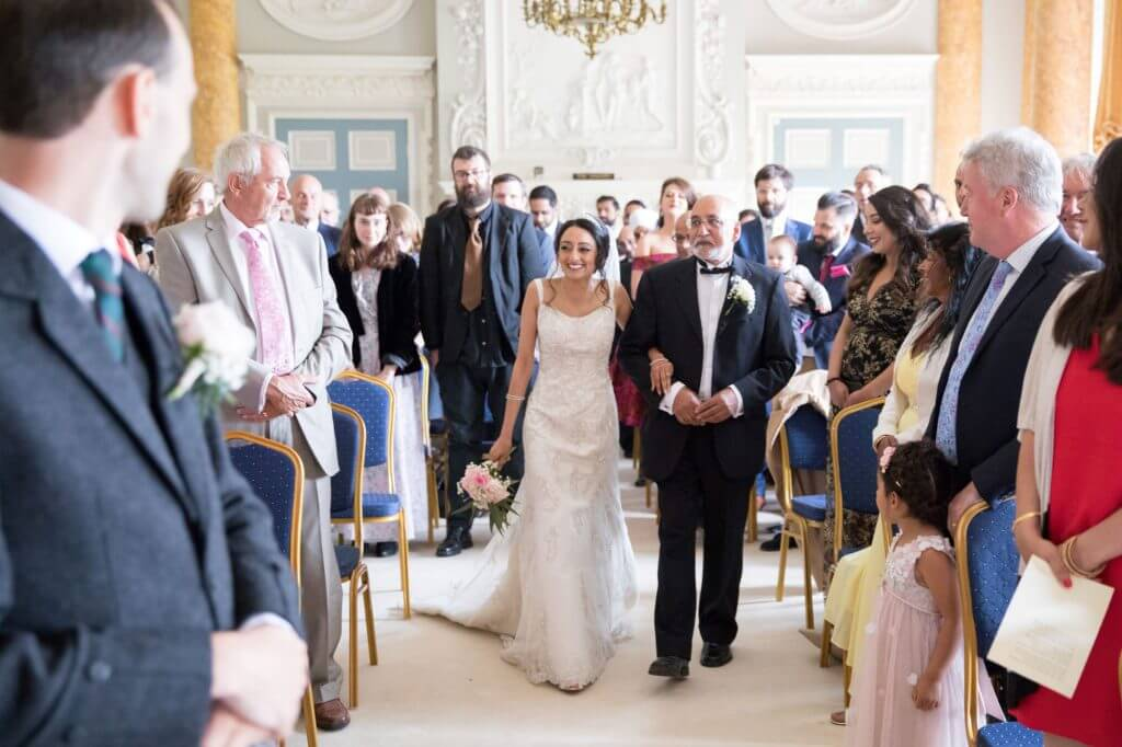 father of the bride daughter walk down aisle for marriage ceremony stoneleigh abbey stately home kenilworth warwickshire oxfordshire wedding photography 64