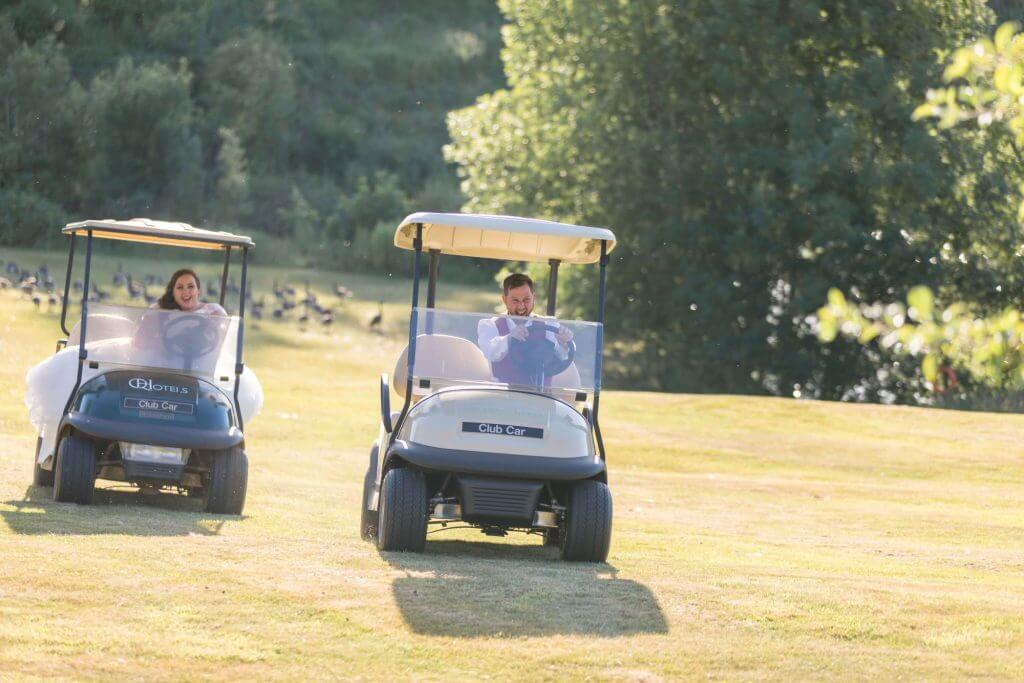 golf carts hellidon lakes resort northamptonshire champagne reception oxfordshire wedding photography 27