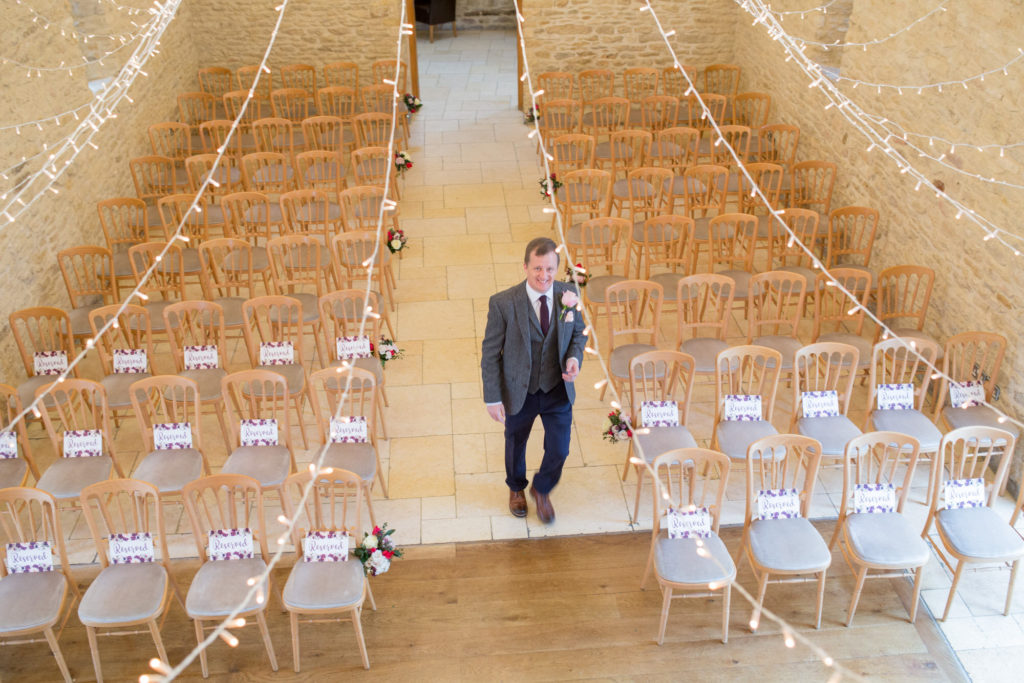 Groom before ceremony kingscote barn oxfordshire wedding photographer