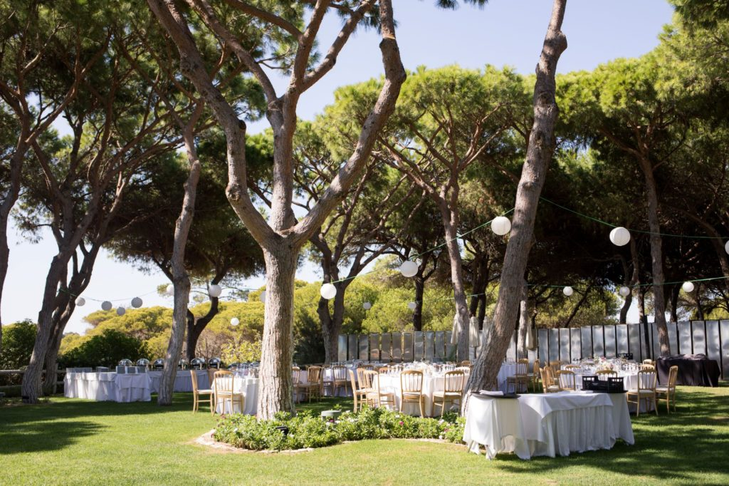 open air dinner reception setting pine cliffs resort portugal oxford wedding photography
