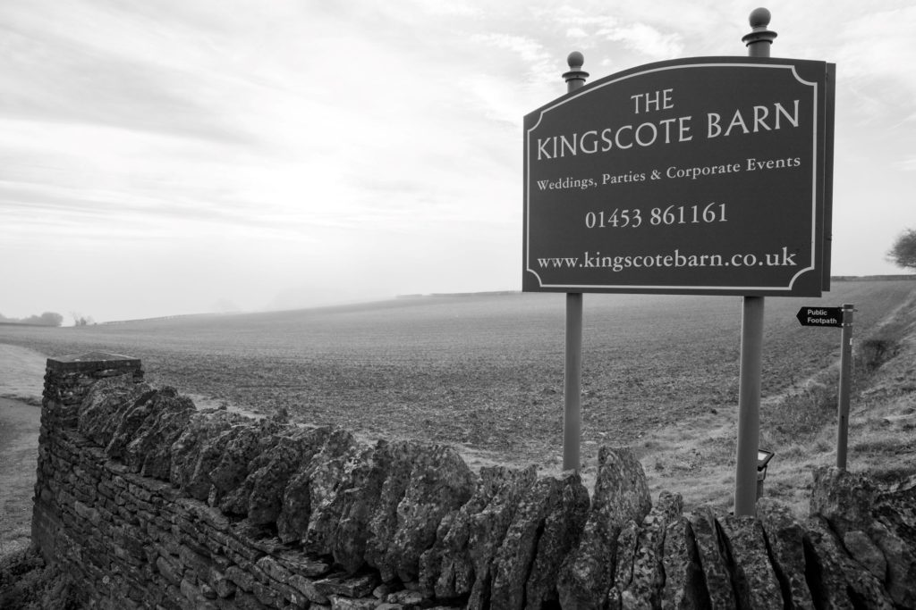 the kingscote barn venue sign tetbury oxford wedding photographer