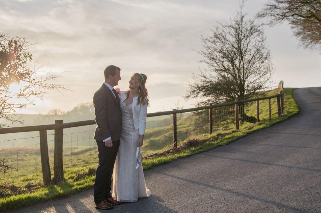 sunset bride groom kingscote barn tetbury oxford wedding photographers