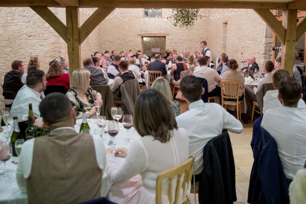 grooms speech reception dinner kingscote barn tetbury oxford wedding photographer