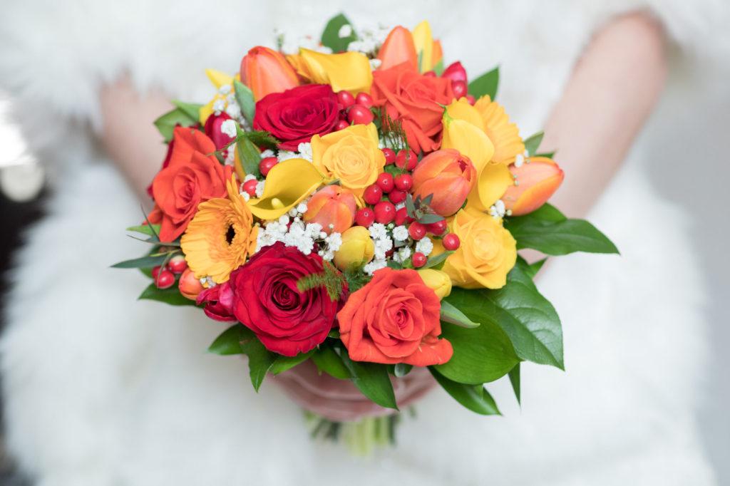 brides vibrant flowers bouquet berkeley castle gloucestershire oxfordshire wedding photography