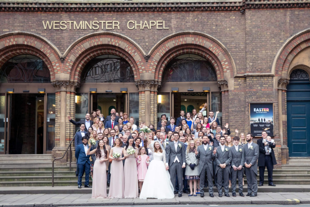bride groom bridal party guests westminster chapel london oxfordshire wedding photographer