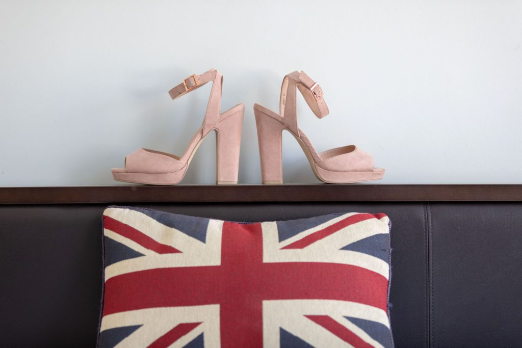 brides shoes union flag cushion st marys church marylebone london oxfordshire wedding photographers