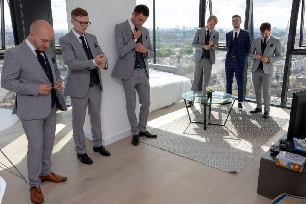 groom groomsmen check suits st marys church bryanston square london oxford wedding photography