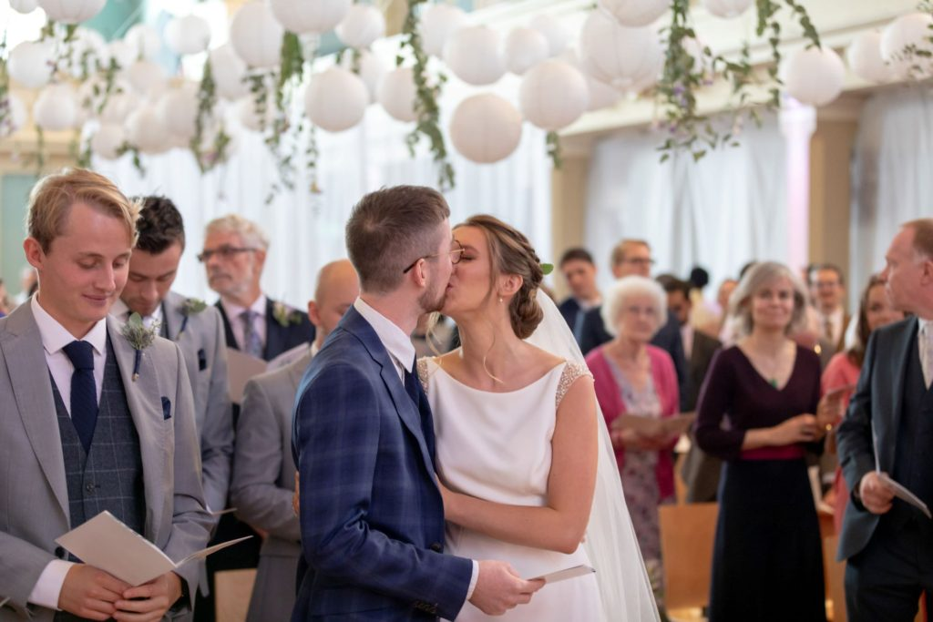 010 bride groom first kiss st marys church marylebone london oxford wedding photographers