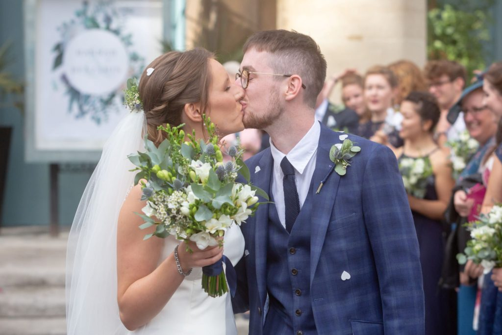 012 bride groom kiss after marriage ceremony st marys church marylebone london oxfordshire wedding photographer