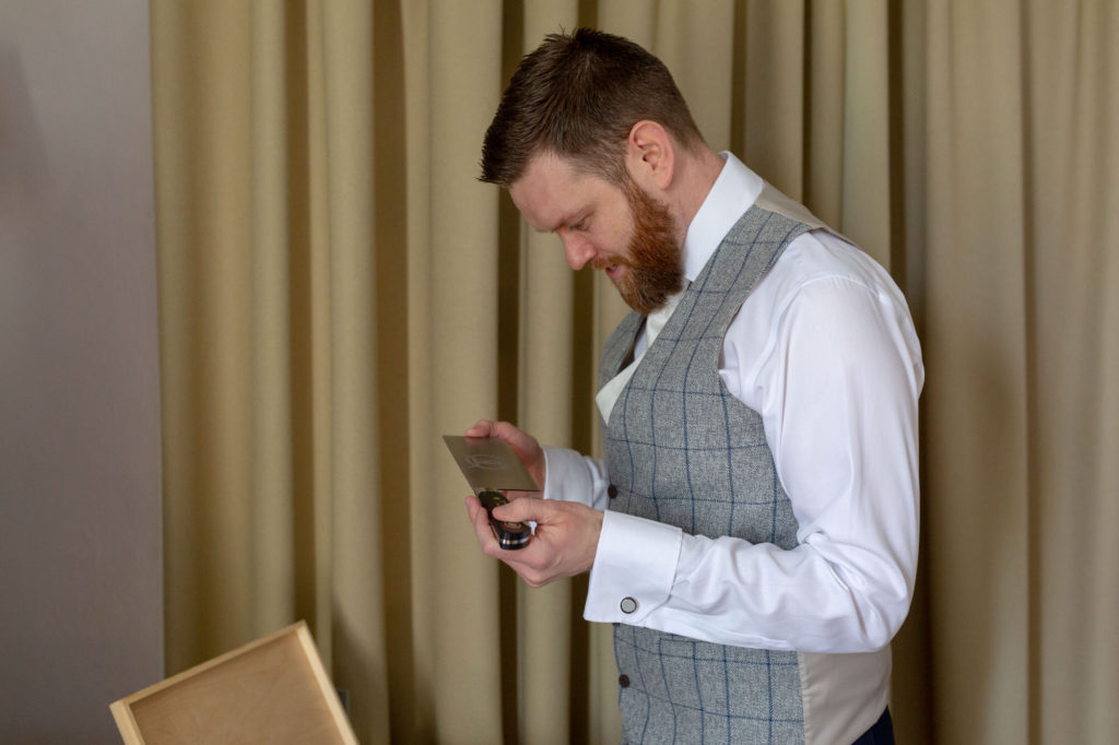 bestmans gift at groom prep de vere selsdon estate croydon oxford wedding photographer