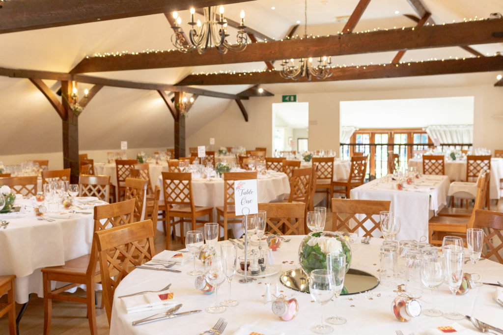 reception dinner arrangement oaks farm wedding venue surrey oxford wedding photography