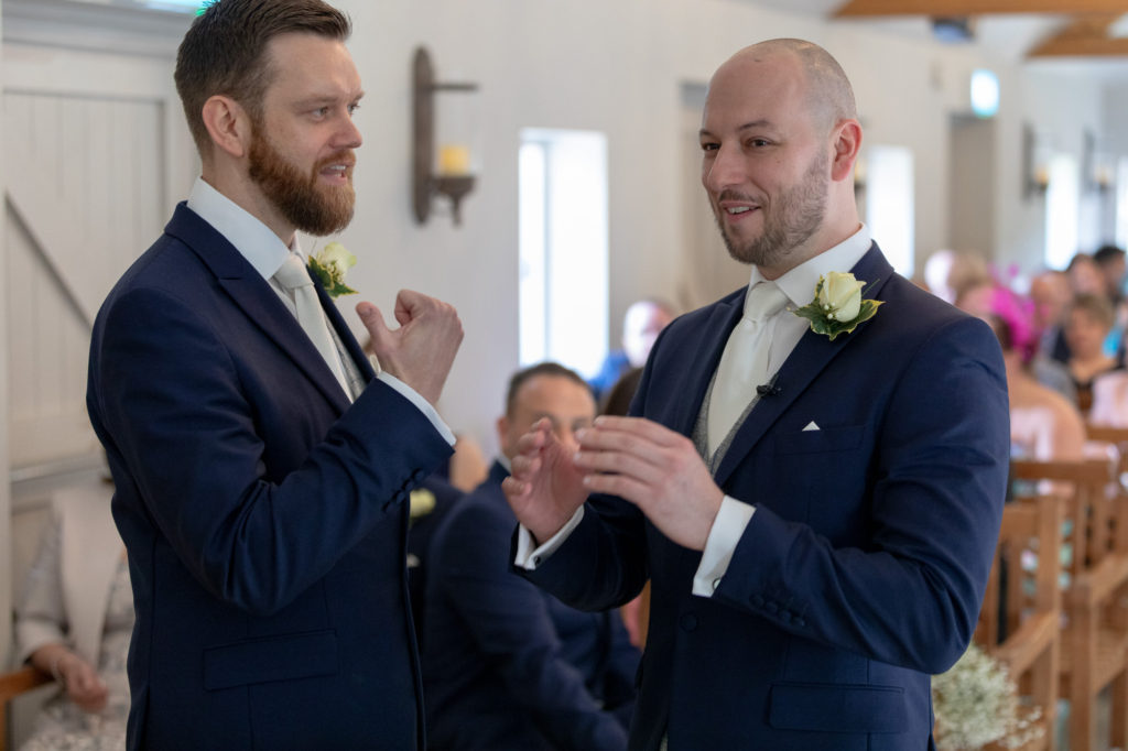 groom bestman await bride oaks farm wedding venue surrey oxfordshire wedding photographer