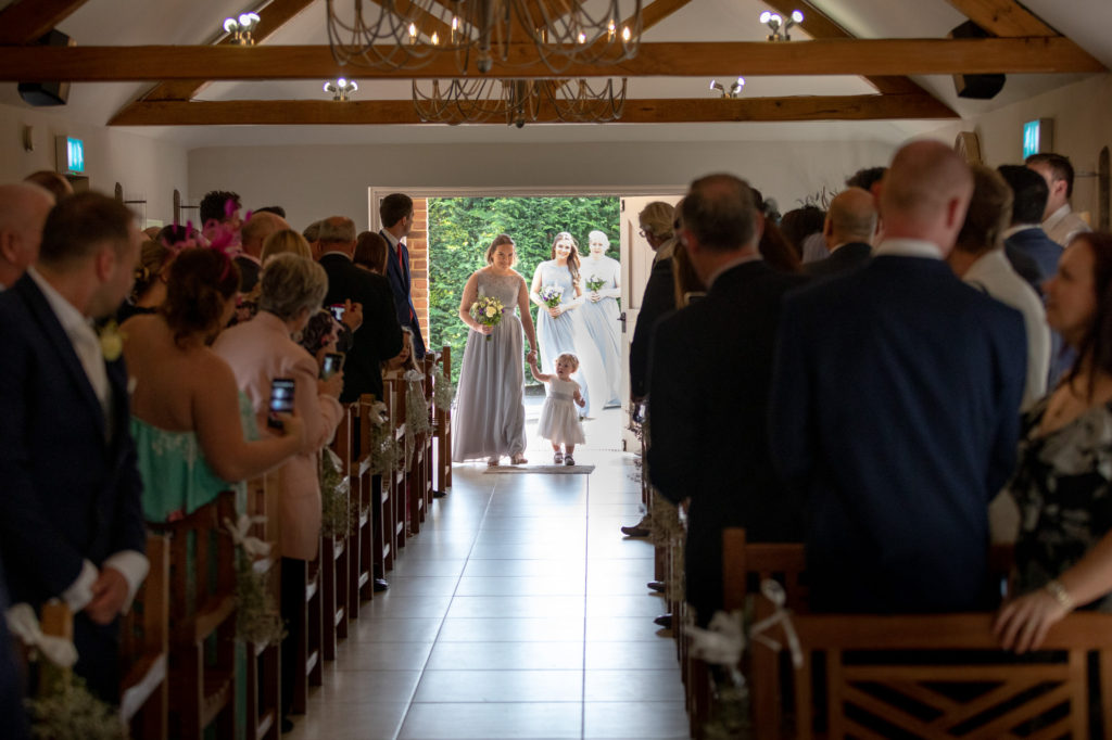 flower girl bridesmaids marriage ceremony oaks farm venue surrey oxford wedding photographer