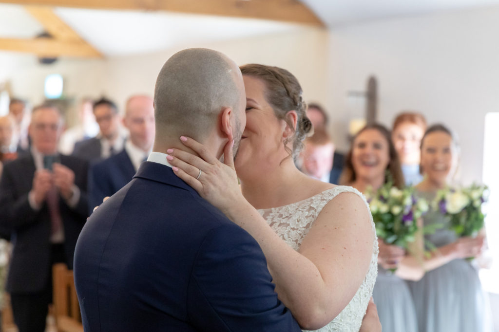 first kiss marriage ceremony oaks farm surrey oxford wedding photographer