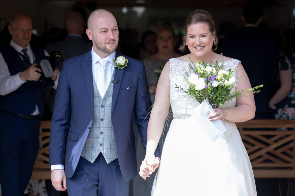 smiling bride groom just married oaks farm surrey oxfordshire wedding photography