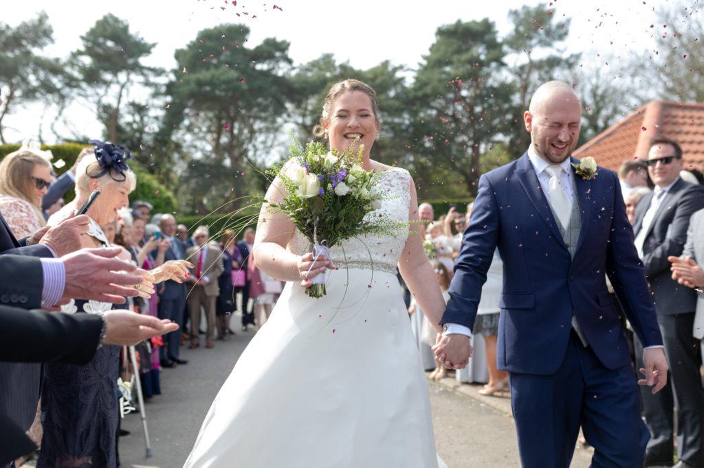 bride groom confetti shower oaks farm wedding venue surry oxford wedding photographer