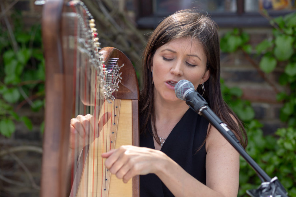 harpist at drinks reception oaks farm wedding venue surrey oxford wedding photographer