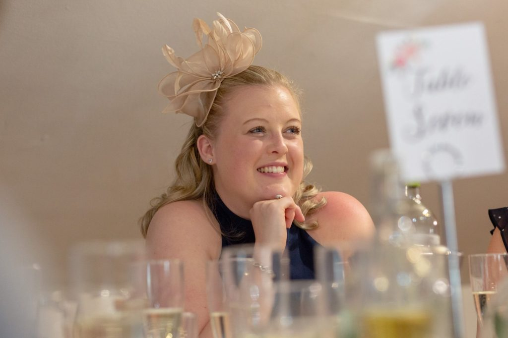 smiling dinner reception guest oaks farm wedding venue surrey oxford wedding photography